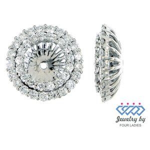 Diamond Round Jacket Earrings Jewelry White Gold